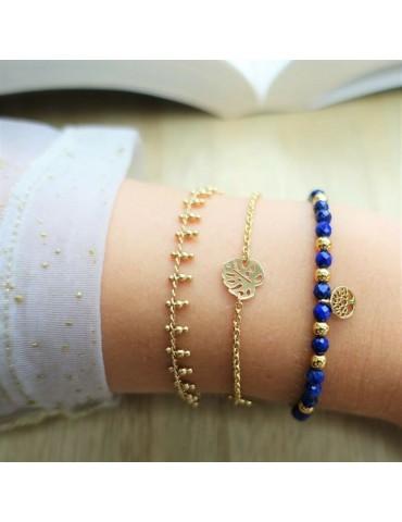 Bracelet chaine et perles en plaqué or Aloe Bijoux