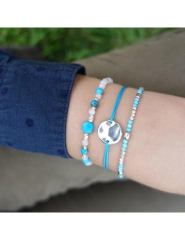 Bracelet Turquoise et Pierres de lune en Argent 925 - Yris Aloe Bijoux