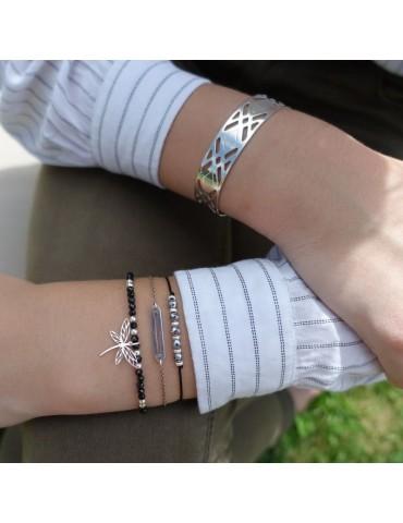 Bracelet manchette en Argent 925 - Losange