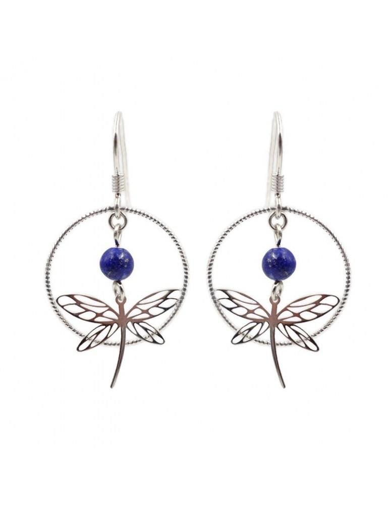 Boucles d'oreilles Lapis lazuli et Libellule en Argent 925