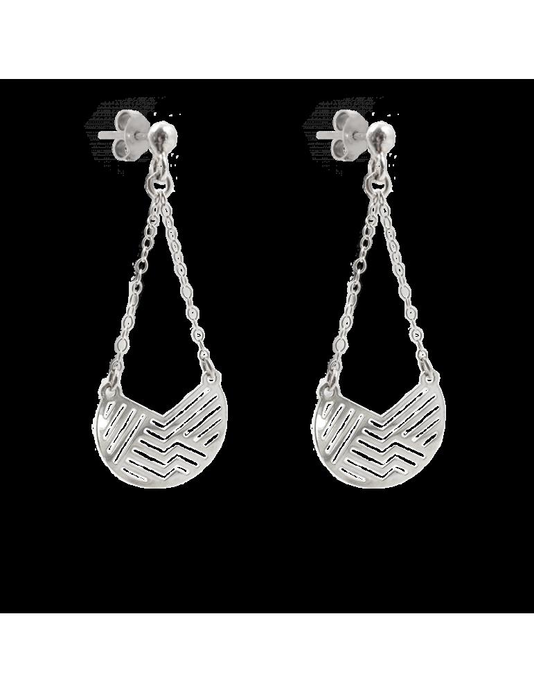 Boucles d'oreilles géométriques en Argent 925 - Empreinte