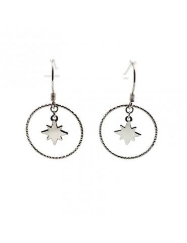 Boucles d'oreilles ciselées avec une étoile en Argent 925