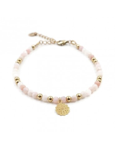 Bracelet Opale rose et Fleur filigrane en plaqué or