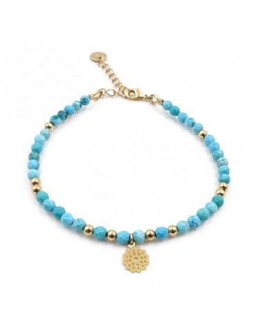 Bracelet Turquoise et fleur filigrane en plaqué or