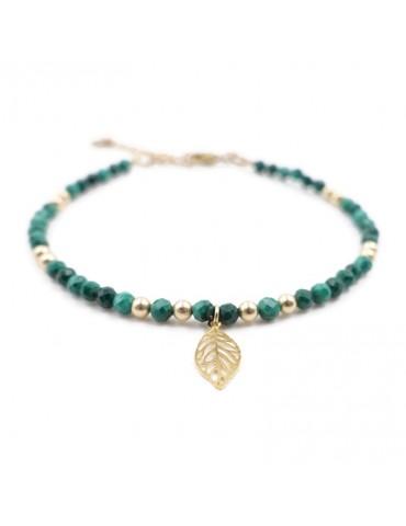 Bracelet Malachite et feuille en plaqué or Aloe Bijoux