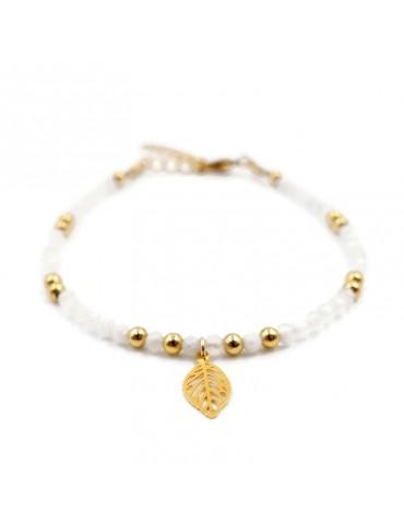 Bracelet Pierre de lune et feuille en plaqué or