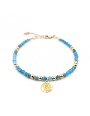 Bracelet Apatite et Médaille Reine en plaqué or Aloe Bijoux
