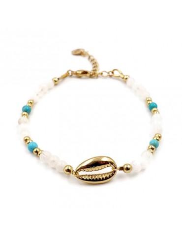 Bracelet Perle de lune et Turquoise Motif Coquillage en plaqué or