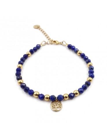 Bracelet Lapis Lazuli et Arbre de vie en plaqué or