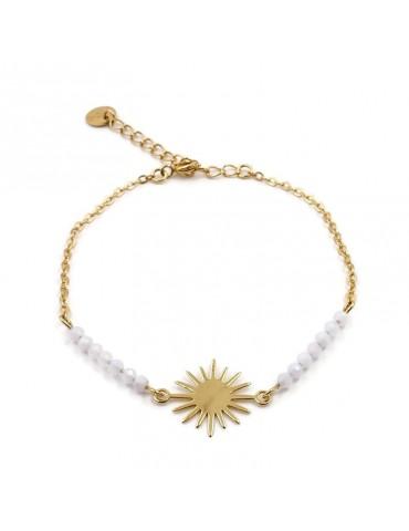 Bracelet Agate bleue et Motif soleil en plaqué or
