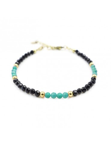 Bracelet Spinelle noir et Amazonite en plaqué or