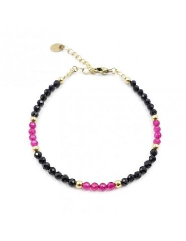 Bracelet Spinelle noir et Rubéllite en plaqué or Aloe Bijoux