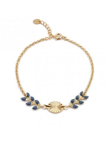 """Bracelet """"epi et soleil"""" laque bleue en plaqué or Aloe Bijoux"""