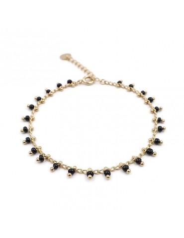 Bracelet chaine avec perles de céramique noires en plaqué or