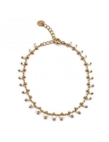 Bracelet chaine et perles de céramique blanches en plaqué or Aloe Bijoux