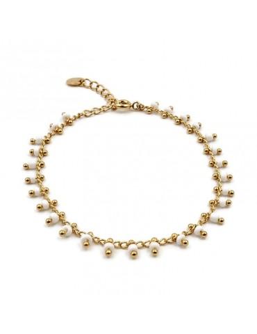 Bracelet chaine et perles de céramique blanches en plaqué or