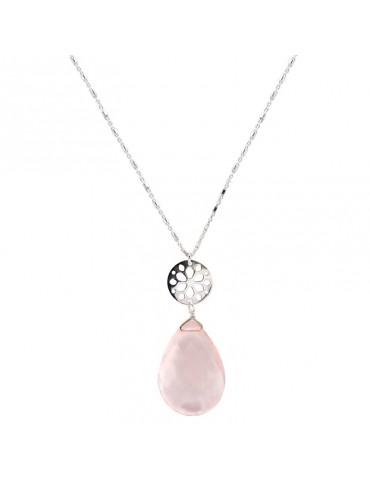 Collier grande goutte quartz rose et rosace sur chaine en Argent 925