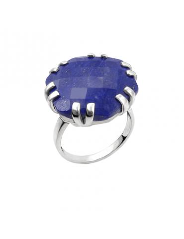 Bague Lapis lazuli en Argent 925 - Hexagone
