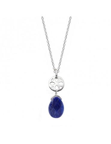 Collier Lapis lazuli et rosace en Argent 925