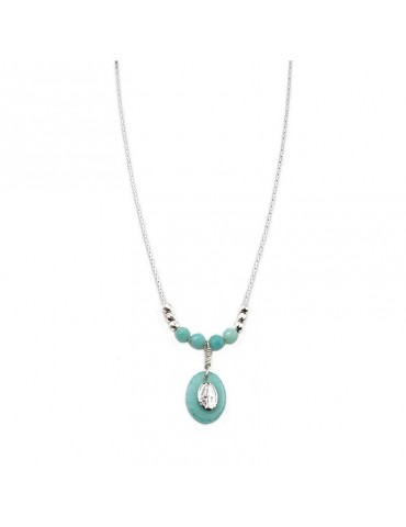 Collier Madone Amazonite et chaine Argent 925