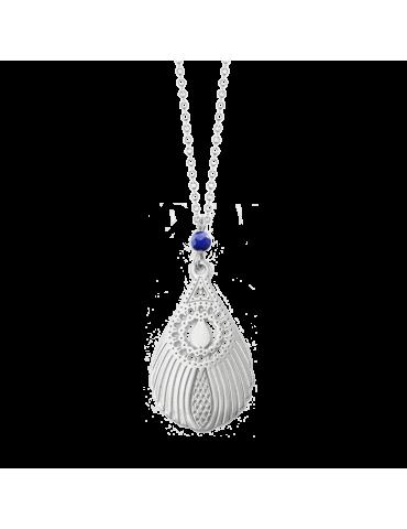 Collier avec Lapis lazuli et Plume de paon en Argent 925