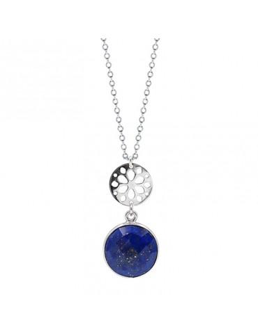 Collier Lapis lazuli et rosace sur chaine en Argent 925
