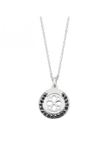 Collier cercle en perles Spinelle anthracite et Argent 925