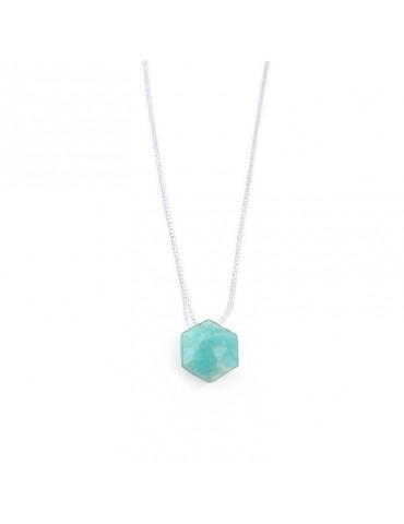 Collier Amazonite hexagonale sur chaine fine en Argent 925