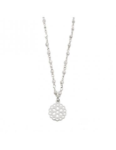 Collier perles Pierre de lune et Fleur dentelle en Argent 925 - Cloé