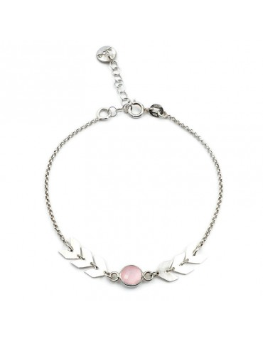 Bracelet Quartz rose en Argent 925 - Antica