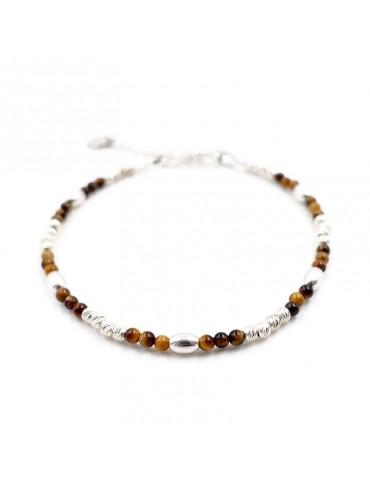 Bracelet Oeil de tigre et Argent 925 - Zoé