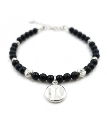 Bracelet Onyx et pastille en Argent 925 - Kloé