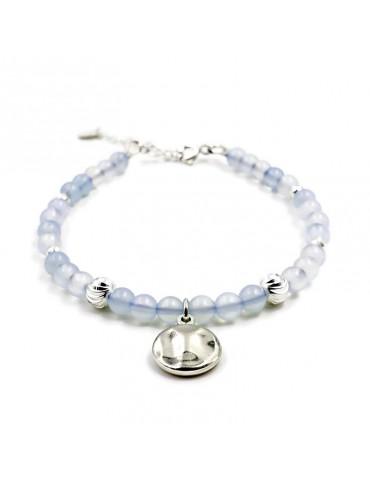 Bracelet Agate bleue et pastille martelée en Argent 925 - Kloé