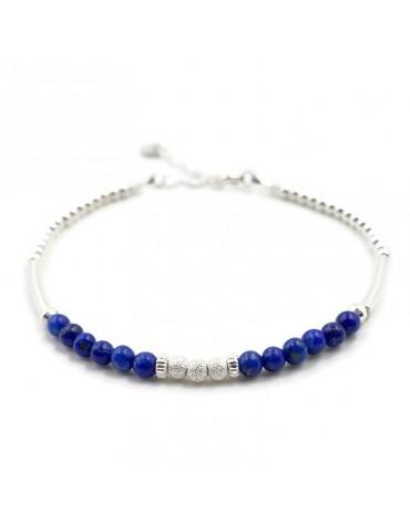 Bracelet Lapis lazuli et Argent 925 - Kaé