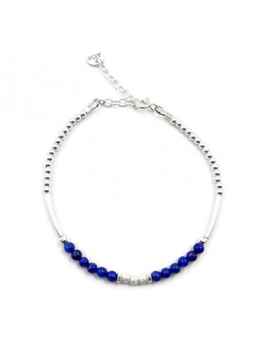 Bracelet Lapis lazuli et Argent 925 - Kaé Aloe Bijoux
