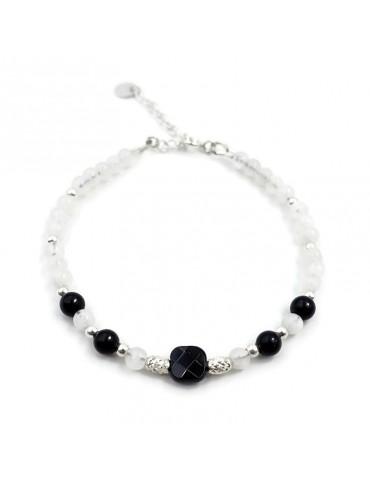 Bracelet Pierres de lune et Onyx en Argent 925 - Yris