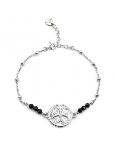 Bracelet Médaille Celtique et Spinelle noir en Argent 925 Aloe Bijoux