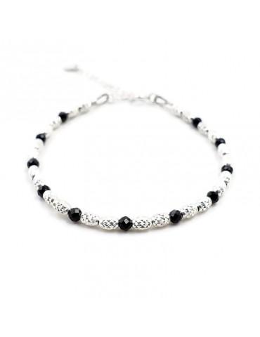 Bracelet Spinelle noir perles et Argent 925 - Eloa