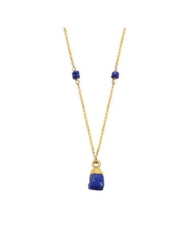 Collier Lapis lazuli brut en plaqué or