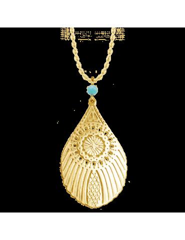 Collier Grande plume de paon avec Amazonite en Plaqué or