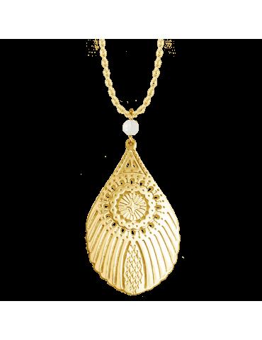 Collier Grande plume de paon avec Pierre de lune en Plaqué or