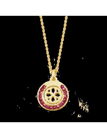Collier cercle en perles Grenat en Plaqué or