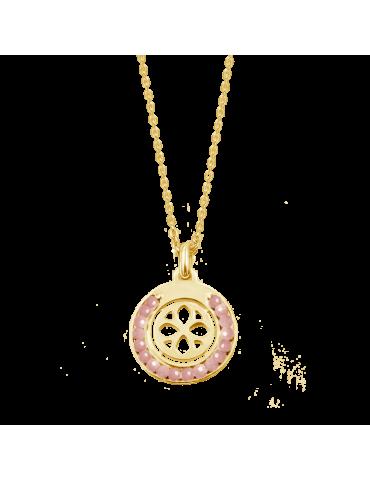 Collier cercle en pierre de soleil et Plaqué or