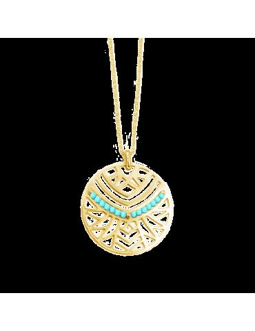 Collier rond avec Turquoise et Plaqué or - Isia