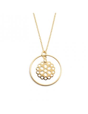 Collier cercle et fleur ajourée en plaqué or