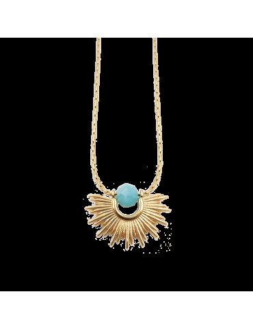 "Collier ""demi soleil"" Amazonite sur Plaqué Or - Inca Aloe Bijoux"