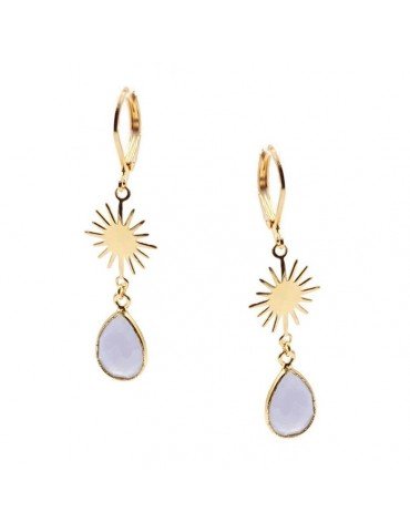 Boucles d'oreilles soleil Calcédoine bleue en plaqué or Aloe Bijoux