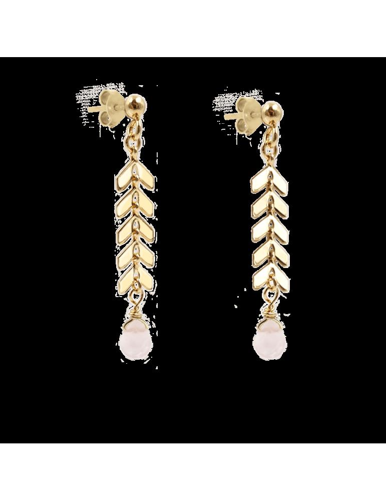 Boucles d'oreilles Quartz rose en Plaqué or - Antica