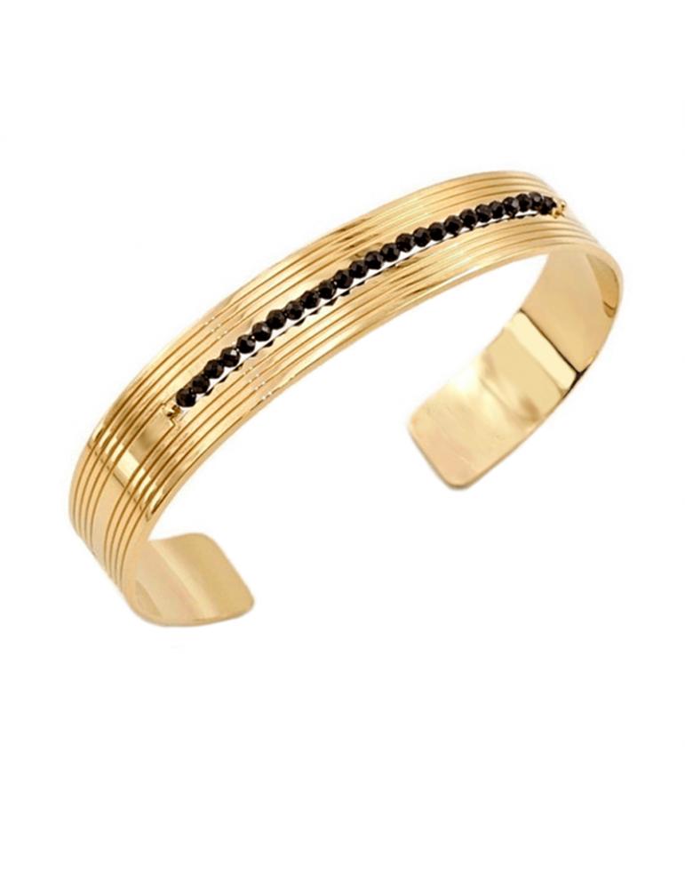 Bracelet rigide avec Spinelle noir 2 mm en Plaqué or - Code