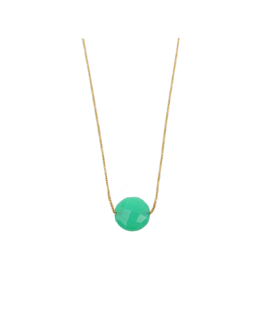 Collier Chrysoprase ronde en Plaqué or